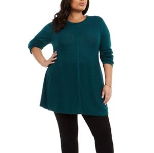 Plus Size Seam-Front Tunic Sweater